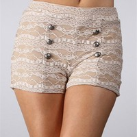 Mocha Lace Button Shorts