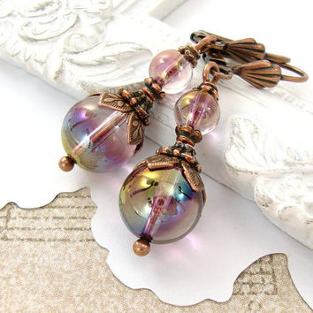 Victorian Swarovski Crystal Ball Earrings - Antique Copper Leverback Earrings - Copper and Purple Earrings Antique Style Victorian Jewelry