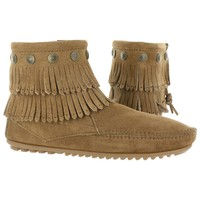 Minnetonka Women's SIDE ZIP taupe ankle double fringe booties 697T L