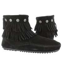 Minnetonka Women's SIDE ZIP black ankle double fringe booties 699 L