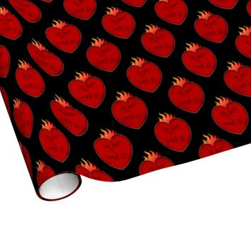 My Heart Burns For You Gift Wrap-Red and Black
