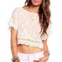 Snowflake Cropped Top in Beige :: tobi