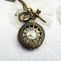 Vintage Pocket Watch Necklace - Dragonfly & Clear Charms