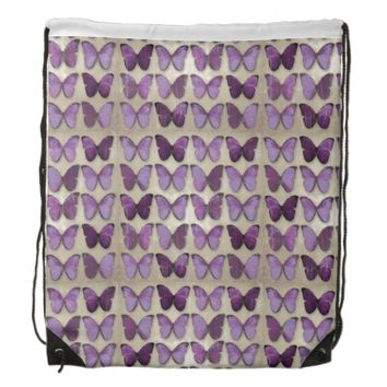 Purple Butterflies Drawstring Backpack