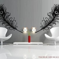 """PEACOCK FEATHERS ~ DECAL, HOME DECOR COMBINED IS APPROX. 13""""X 44"""":Amazon:Home Improvement"""