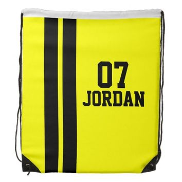 Yellow & Black Racing Stripes Drawstring Backpack