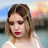Gold Gladiator Head Chain, Chain Headband, Headdress, Chain Head Piece, Head Jewelry, Hair Chain