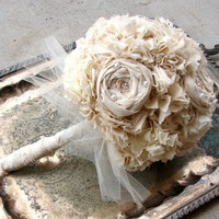 Bridal Bouquet Vintage Weddings Natural Cotton Fabric by AutumnArt