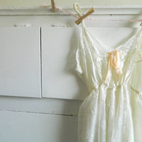 Ivory wedding dress vintage slip romantic shabby chic size small medium