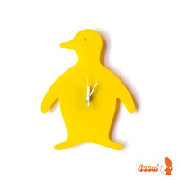 Yellow Penguin Wall Hanging Clock