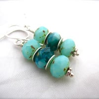 Seafoam and Aqua Picasso Czech Glass Dangle Earrings. Sterling Silver