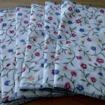 Flannel Flowers – Upcycled Lunchbox Napkins, Fabric Wipes Eco Friendly, 2 Layer Cotton Flannel, Set…