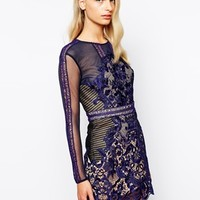 Self Portrait Athansia Lace And Mesh Combination Dress
