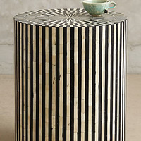Bone Inlay Side Table by Anthropologie Black & White One Size Furniture