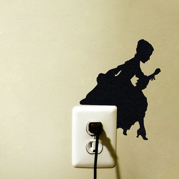 Victorian Home Decor - Shabby Chic Velvet Wall Sticker - Woman Silhouette Wall Decoration