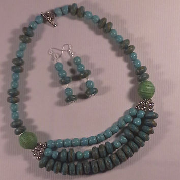 African Turquoise and Light Blue Turquoise Necklace and Earring
