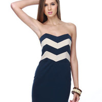 $73 - Lucca Couture Cadette Strapless Navy Blue Dress