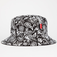 Asphalt Yacht Club Paisley Box Mens Reversible Bucket Hat Black/White One Size For Men 25182612501