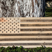 Wall art USA flag wooden carved edition  FREE SHIPPING  retro style sign carved in salvaged palette wood personalisation possible