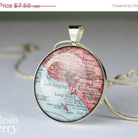 ON SALE: pendant charms,vintage Los Angeles map necklace pendants,art resin pendants- M0124CP