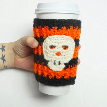 Halloween Skull Coffee Cozy in Orange and Black Stripes