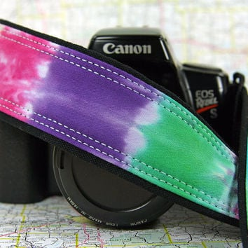 Tie Dye Camera Strap, Hand dyed, Rainbow, One of a Kind, Plain ends, OOAK, dSLR or SLR
