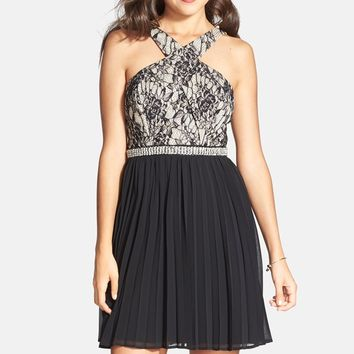 Way-In Lace Detail Pleated Skater Dress (Juniors)