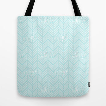 Turquoise Aqua Chevron Floral Tote Bag by BeautifulHomes