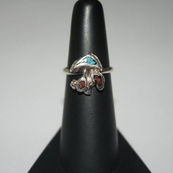 Mushroom with Turquoise and Coral Vintage Sterling Silver  - free ship US Size 5.25