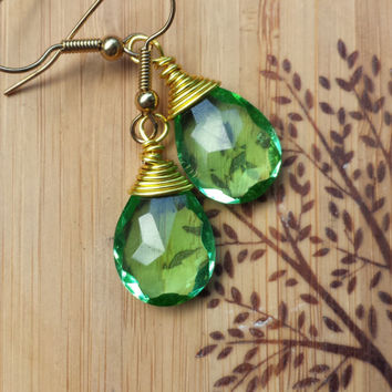 Green Wire Wrapped Earrings