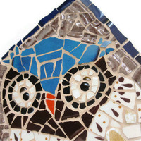Mosaic Tile Owl Hook Hanger Key Holder Ceramic tiles Art Home Decoration Blue Brown Cream