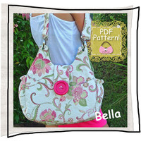 PURSE PDF pattern Handbag sewing tutorial - &quot;Bella&quot;, handmade floral handbag, tote or shoulder bag