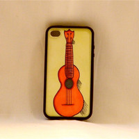 Uke Can't Always Get What You Want, iPhone case, iPhone cover, iPhone 4/4, ukulele, music, instrument, hipster, bohemian, orange, men