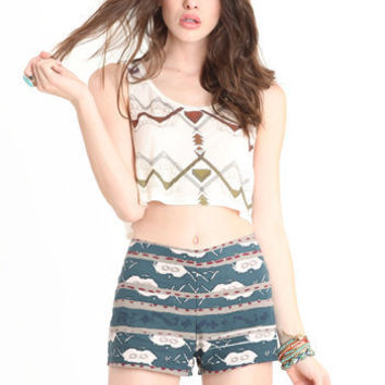 November Skies Printed Shorts by BB Dakota - $58.00 : ThreadSence.com, Your Spot For Indie Clothing & Indie Urban Culture