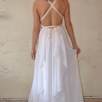 White Chiffon Maxi Sexy / Gown / Wedding Dress - Handmade Gown / Free Shipping Grecian