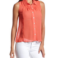 Sheer Chiffon Button-Down Tank
