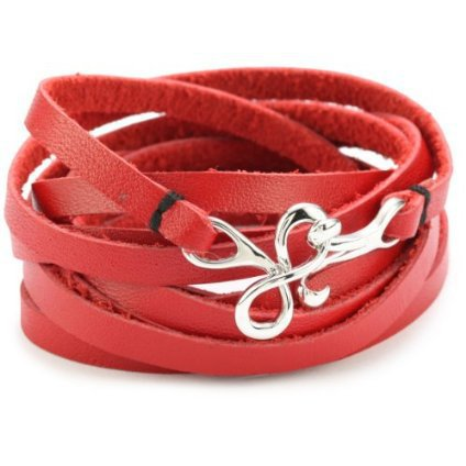 "Love Peace And Hope ""True Blood Jewelry Collection"" Red Leather Wrap Bracelet - designer shoes, handbags, jewelry, watches, and fashion accessories 