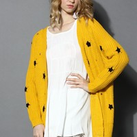Knitted Cardigan with Star Decor in Mustard Yellow S/M