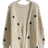 Knitted Cardigan with Star Decor in Beige  Beige S/M