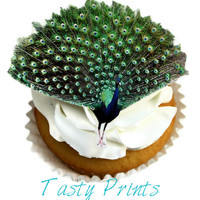 12 EDIBLE Amazing PEACOCK - HD Tasty Print - Edible Cupcake Topper - Cake deocration - Edible Decoration