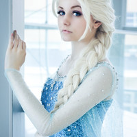 Cosplay Frozen Queen Elsa Pale Gold Wig Free Ship SP141192 from SpreePicky