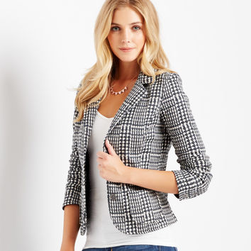 Aeropostale Printed Tweed Blazer - Black,