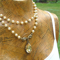 Vintage Style Pearl Necklace with Colorado Topaz Crystal Pendant
