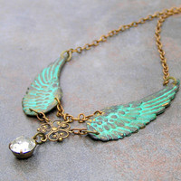 Green Patina Vintage Angel Wing Necklace