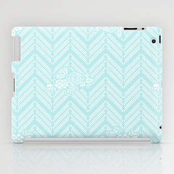 Turquoise Aqua Chevron Floral iPad Case by BeautifulHomes