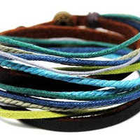 Adjustable Bracelet Cuff made of Brown Leather Multicolour Ropes and metal Woven Snapper mens bracelet unisex bracelet 78S