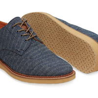 NAVY DENIM HERRINGBONE MEN'S BROGUES