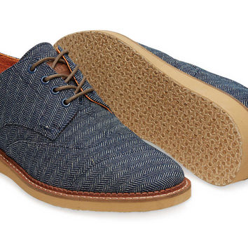 NAVY DENIM HERRINGBONE MENx27S BROGUES