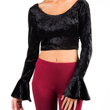 VELVET CRISS CROSS BACK FLARE SLEEVE CROP TOP - BLACK