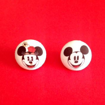 Handmade Vintage Classic Minnie and Mickey Mouse inspired earring set - Disney Inspired - Disney Art Fabric Earrings 3/4""
